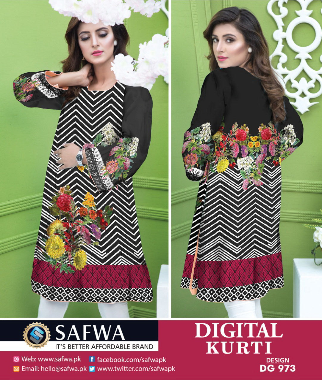 SAFWA DRESS DESIGN, DRESSES, PAKISTANI DRESSES, DG973 - SAFWA DIGITAL COTTON PRINT KURTI COLLECTION -SHIRT KURTI KAMEEZ-Shirt-Kurti-SAFWA -SAFWA Brand Pakistan online shopping for Designer Dresses