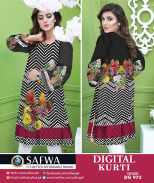 DG973 - SAFWA DIGITAL COTTON PRINT KURTI COLLECTION -SHIRT KURTI KAMEEZ