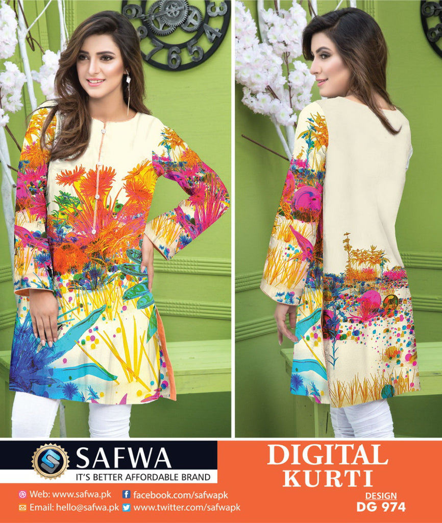 DG974 - SAFWA DIGITAL COTTON PRINT KURTI COLLECTION -SHIRT KURTI KAMEEZ