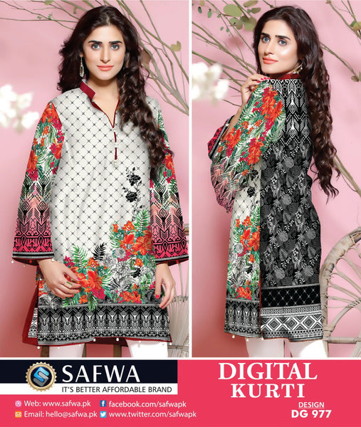 SAFWA DRESS DESIGN, DRESSES, PAKISTANI DRESSES, DG977 - SAFWA DIGITAL COTTON PRINT KURTI COLLECTION -SHIRT KURTI KAMEEZ-Shirt-Kurti-SAFWA -SAFWA Brand Pakistan online shopping for Designer Dresses