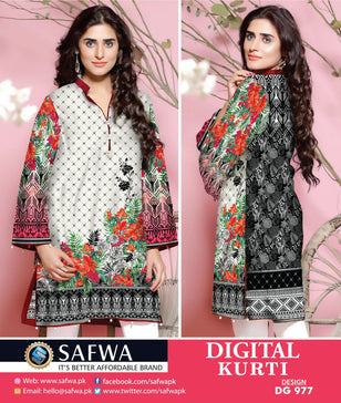 DG977 - SAFWA DIGITAL COTTON PRINT KURTI COLLECTION -SHIRT KURTI KAMEEZ