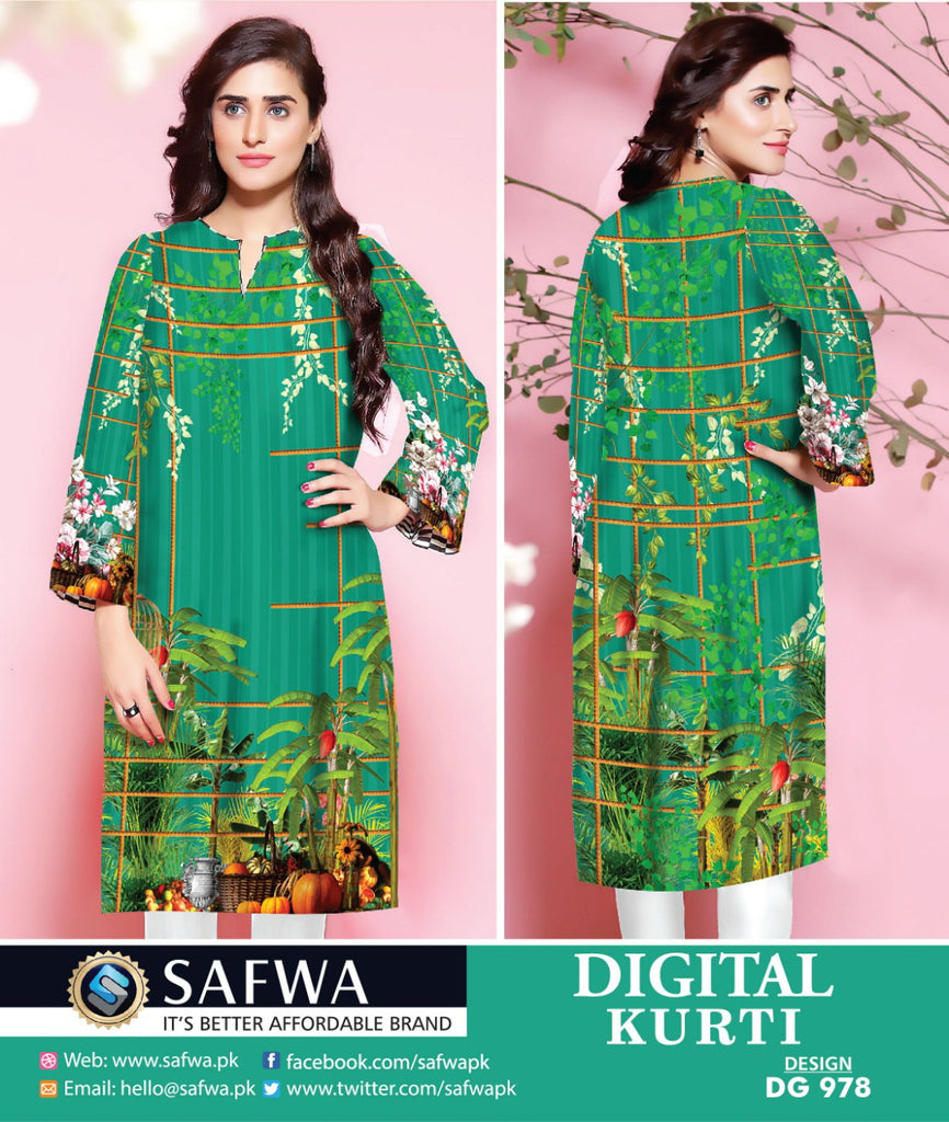 DG978 - SAFWA DIGITAL COTTON PRINT KURTI COLLECTION -SHIRT KURTI KAMEEZ