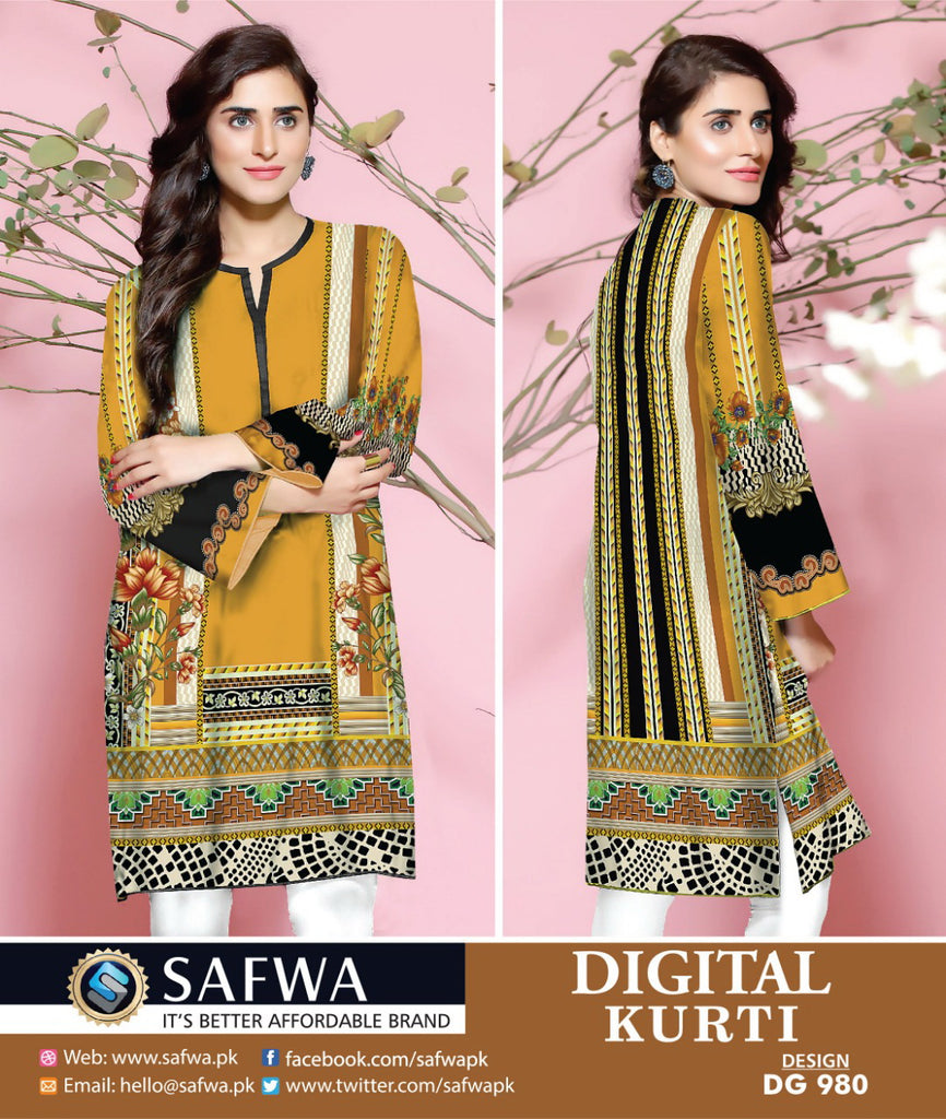 DG980 - SAFWA DIGITAL COTTON PRINT KURTI COLLECTION -SHIRT KURTI KAMEEZ