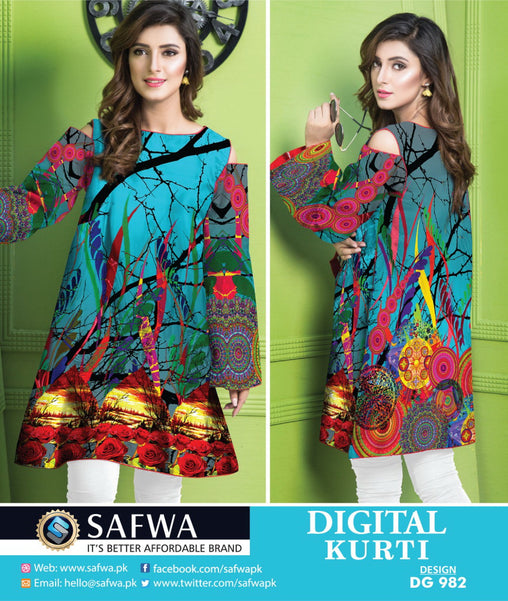 SAFWA DRESS DESIGN, DRESSES, PAKISTANI DRESSES, DG982 - SAFWA DIGITAL COTTON PRINT KURTI COLLECTION -SHIRT KURTI KAMEEZ-Shirt-Kurti-SAFWA -SAFWA Brand Pakistan online shopping for Designer Dresses