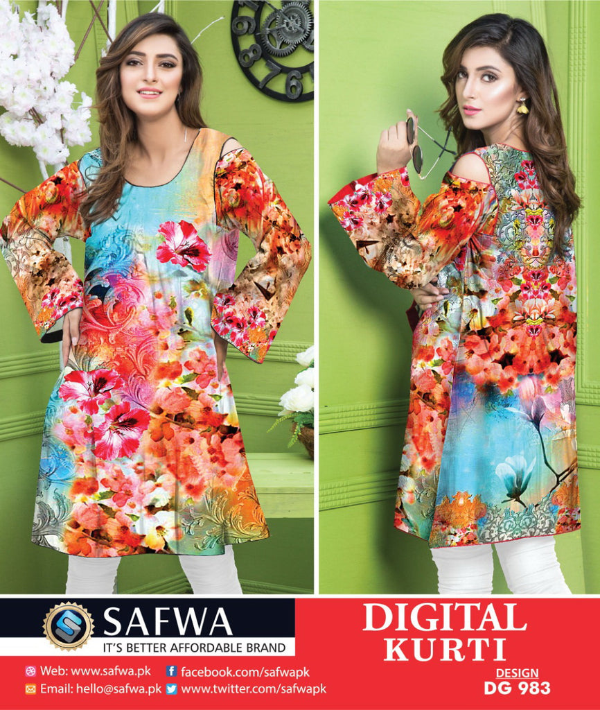 DG983 - SAFWA DIGITAL COTTON PRINT KURTI COLLECTION -SHIRT KURTI KAMEEZ