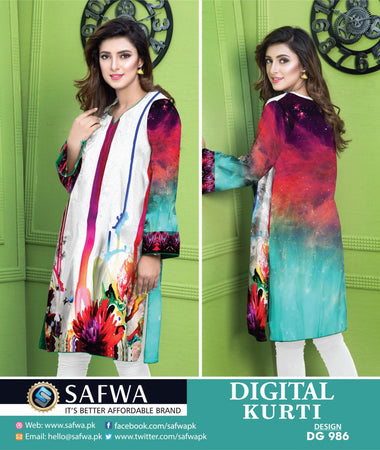 DG986 - SAFWA DIGITAL COTTON PRINT KURTI COLLECTION -SHIRT KURTI KAMEEZ
