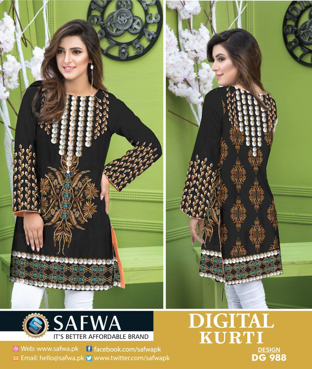 SAFWA DRESS DESIGN, DRESSES, PAKISTANI DRESSES, DG988 - SAFWA DIGITAL COTTON PRINT KURTI COLLECTION -SHIRT KURTI KAMEEZ-Shirt-Kurti-SAFWA -SAFWA Brand Pakistan online shopping for Designer Dresses