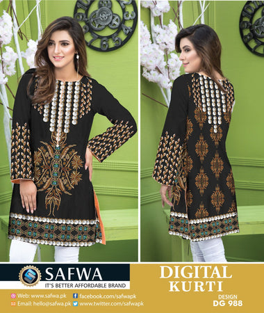 DG988 - SAFWA DIGITAL COTTON PRINT KURTI COLLECTION -SHIRT KURTI KAMEEZ