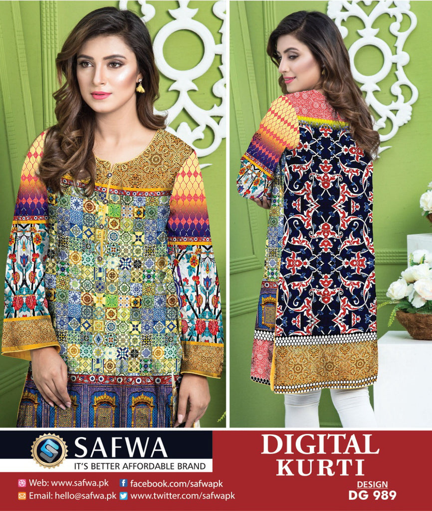 DG989 - SAFWA DIGITAL COTTON PRINT KURTI COLLECTION -SHIRT KURTI KAMEEZ