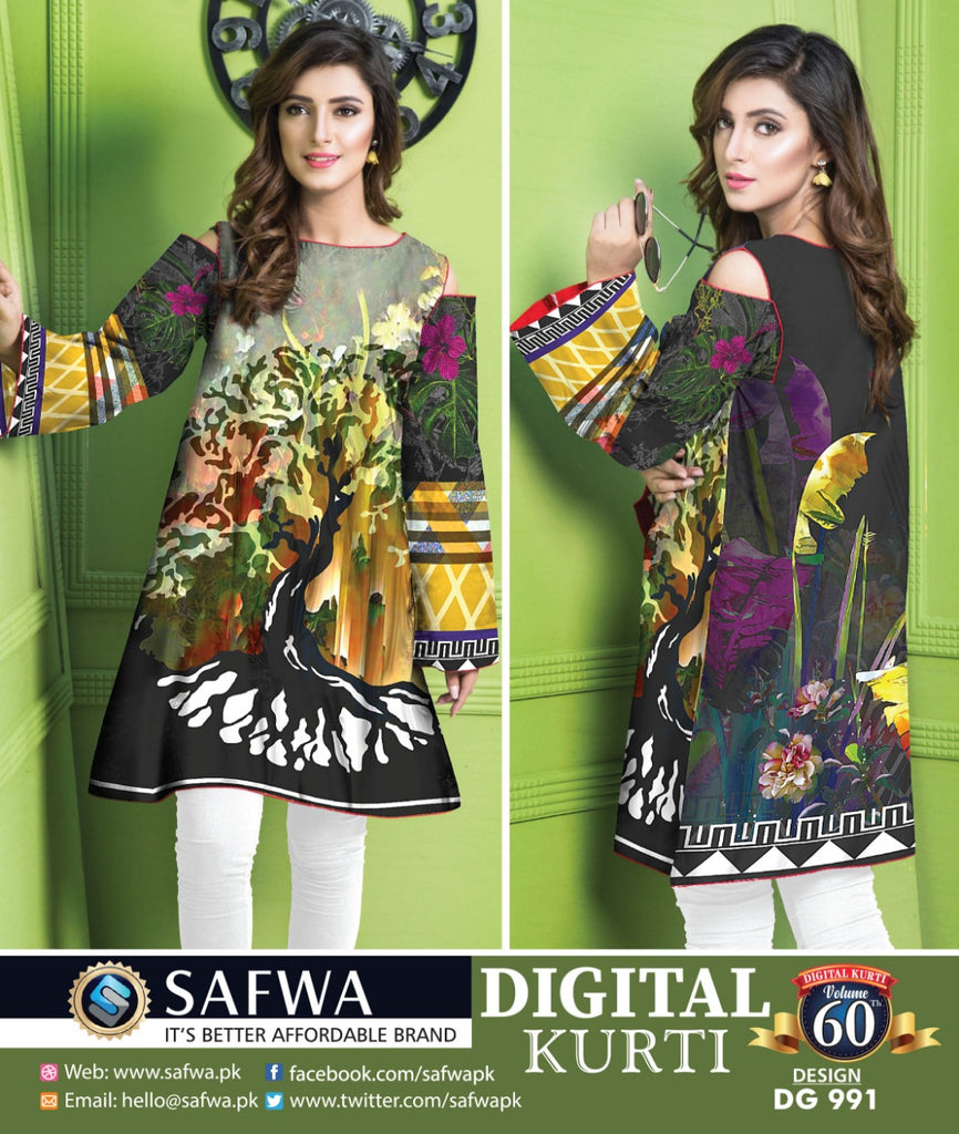 DG991 - SAFWA DIGITAL COTTON PRINT KURTI COLLECTION -SHIRT KURTI KAMEEZ
