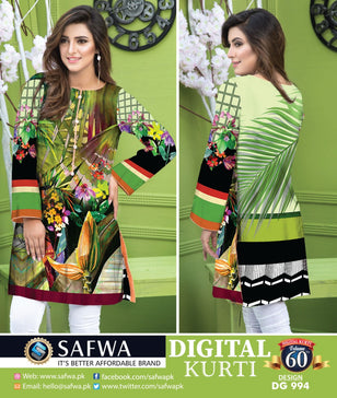 DG994 - SAFWA DIGITAL COTTON PRINT KURTI COLLECTION -SHIRT KURTI KAMEEZ - Shirt-Kurti - Safwa Pakistan Fashion