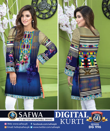 DG996 - SAFWA DIGITAL COTTON PRINT KURTI COLLECTION -SHIRT KURTI KAMEEZ
