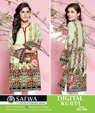 DG896 - SAFWA DIGITAL COTTON PRINT KURTI COLLECTION -SHIRT KURTI KAMEEZ