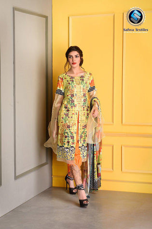 D-807 - SAFWA DIGITAL - SUPREME COLLECTION - EMBROIDERED - 3 PIECE SUIT - LAWN