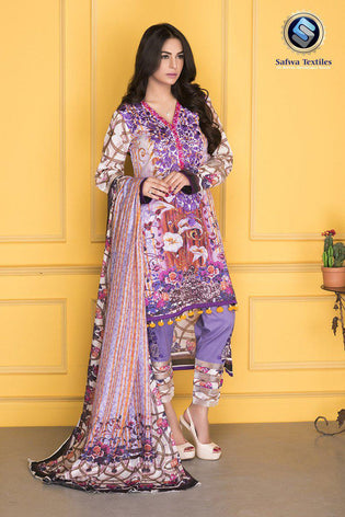 D-802 - SAFWA DIGITAL - SUPREME COLLECTION - EMBROIDERED - 3 PIECE SUIT - LAWN