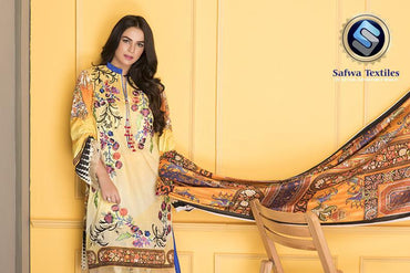 D-801 - SAFWA DIGITAL - SUPREME COLLECTION - EMBROIDERED - 3 PIECE SUIT - LAWN