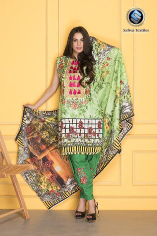D-805 - SAFWA DIGITAL - SUPREME COLLECTION - EMBROIDERED - 3 PIECE SUIT - LAWN