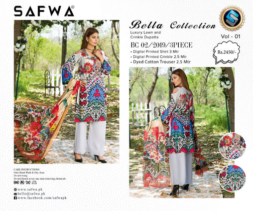 SAFWA DRESS DESIGN, DRESSES, PAKISTANI DRESSES, BC-02 - BELLA COLLECTION - 3 PIECE SUIT 2019-Three Piece Suit-SAFWA -SAFWA Brand Pakistan online shopping for Designer Dresses