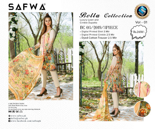 SAFWA DRESS DESIGN, DRESSES, PAKISTANI DRESSES, BC-03 - BELLA COLLECTION - 3 PIECE SUIT 2019-Three Piece Suit-SAFWA -SAFWA Brand Pakistan online shopping for Designer Dresses