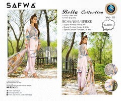 SAFWA DRESS DESIGN, DRESSES, PAKISTANI DRESSES, BC-04 - BELLA COLLECTION - 3 PIECE SUIT 2019-Three Piece Suit-SAFWA -SAFWA Brand Pakistan online shopping for Designer Dresses