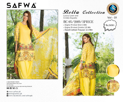 SAFWA DRESS DESIGN, DRESSES, PAKISTANI DRESSES, BC-05 - BELLA COLLECTION - 3 PIECE SUIT 2019-Three Piece Suit-SAFWA -SAFWA Brand Pakistan online shopping for Designer Dresses