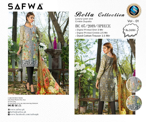SAFWA DRESS DESIGN, DRESSES, PAKISTANI DRESSES, BC-07 - BELLA COLLECTION - 3 PIECE SUIT 2019-Three Piece Suit-SAFWA -SAFWA Brand Pakistan online shopping for Designer Dresses