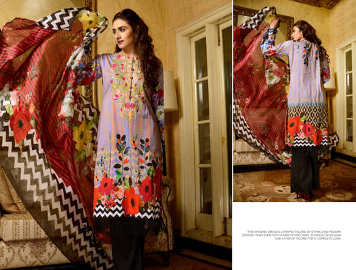 07-SAFWA-DIGITAL -COTTON-SATIN-LAUREL-COLLECTION-EMBROIDERED-3-PIECE-DRESS - Three Piece Suit - safwa