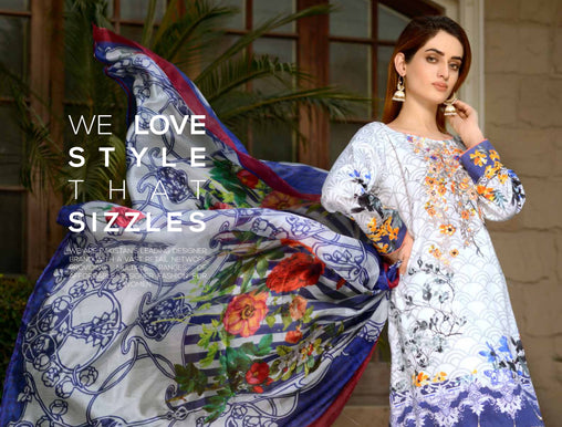 06-SAFWA-DIGITAL -COTTON-SATIN-LAUREL-COLLECTION-EMBROIDERED-3-PIECE-DRESS - Three Piece Suit - safwa