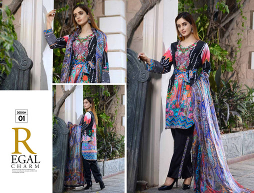 01-SAFWA-DIGITAL -COTTON-SATIN-LAUREL-COLLECTION-EMBROIDERED-3-PIECE-DRESS - Three Piece Suit - safwa