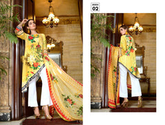 02-SAFWA-DIGITAL -COTTON-SATIN-LAUREL-COLLECTION-EMBROIDERED-3-PIECE-DRESS - Three Piece Suit - safwa