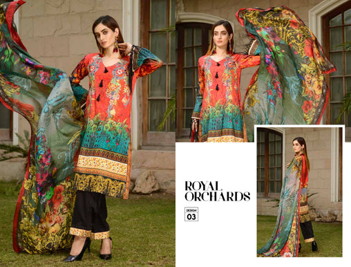 03-SAFWA-DIGITAL -COTTON-SATIN-LAUREL-COLLECTION-EMBROIDERED-3-PIECE-DRESS - Three Piece Suit - safwa
