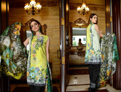 04-SAFWA-DIGITAL -COTTON-SATIN-LAUREL-COLLECTION-EMBROIDERED-3-PIECE-DRESS - Three Piece Suit - safwa