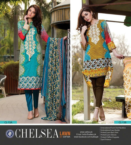 BLUE LAGOON-UNSTITCHED-SAFWA-CL13A-Three Piece Suit-SAFWA Brand