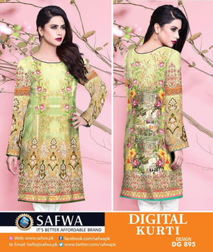 DG895 - SAFWA DIGITAL COTTON PRINT KURTI COLLECTION -SHIRT KURTI KAMEEZ