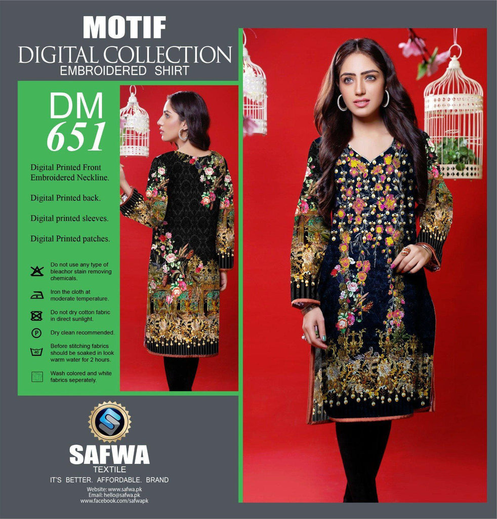DIGITAL EMBROIDERY SHIRT KURTI KAMEEZ - COTTON - SAFWA MOTIF COLLECTION - DM651, Shirt-Kurti, SAFWA, SAFWA Brand - Pakistani Dresses | Kurtis | Shalwar Kameez | Online Shopping | Lawn Dress