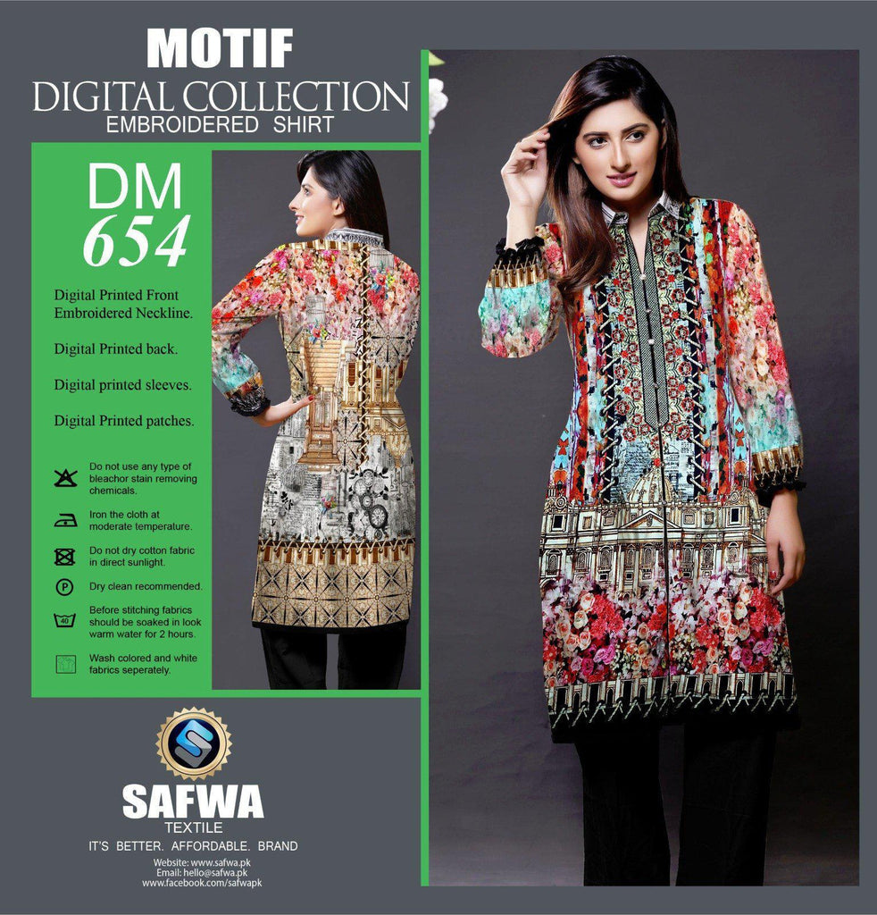 DIGITAL EMBROIDERY SHIRT KURTI KAMEEZ - COTTON - SAFWA MOTIF COLLECTION - DM654, Shirt-Kurti, SAFWA, SAFWA Brand - Pakistani Dresses | Kurtis | Shalwar Kameez | Online Shopping | Lawn Dress