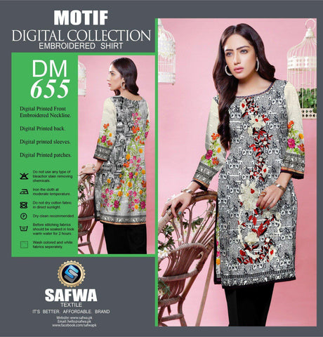 DIGITAL EMBROIDERY SHIRT KURTI KAMEEZ - COTTON - SAFWA MOTIF COLLECTION - DM655-Shirt-Kurti-SAFWA Brand