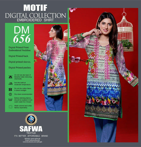 DIGITAL EMBROIDERY SHIRT KURTI KAMEEZ - COTTON - SAFWA MOTIF COLLECTION - DM656-Shirt-Kurti-SAFWA Brand