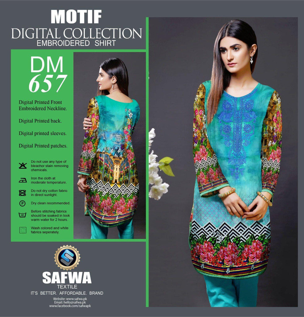 DIGITAL EMBROIDERY SHIRT KURTI KAMEEZ - COTTON - SAFWA MOTIF COLLECTION - DM657, Shirt-Kurti, SAFWA, SAFWA Brand - Pakistani Dresses | Kurtis | Shalwar Kameez | Online Shopping | Lawn Dress
