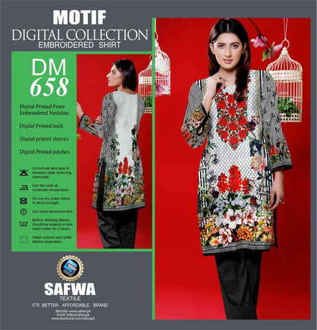 DIGITAL EMBROIDERY SHIRT KURTI KAMEEZ - COTTON - SAFWA MOTIF COLLECTION - DM658-Shirt-Kurti-SAFWA Brand