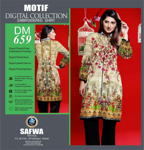 DIGITAL EMBROIDERY SHIRT KURTI KAMEEZ - COTTON - SAFWA MOTIF COLLECTION - DM659-Shirt-Kurti-SAFWA Brand