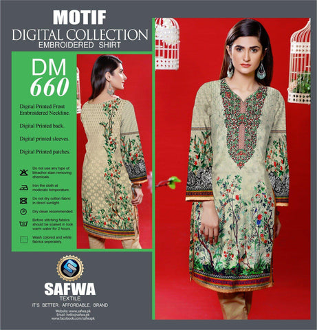 DIGITAL EMBROIDERY SHIRT KURTI KAMEEZ - COTTON - SAFWA MOTIF COLLECTION - DM660-Shirt-Kurti-SAFWA Brand