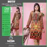 DIGITAL SHIRT KURTI KAMEEZ - CAMBIRC COTTON - SAFWA MOTIF COLLECTION - DM618