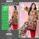 DIGITAL SHIRT KURTI KAMEEZ - CAMBIRC COTTON - SAFWA MOTIF COLLECTION - DM619
