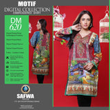 DIGITAL SHIRT KURTI KAMEEZ - CAMBIRC COTTON - SAFWA MOTIF COLLECTION - DM620