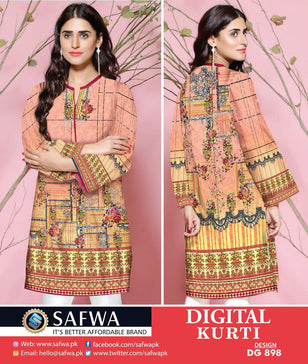 DG898 - SAFWA DIGITAL COTTON PRINT KURTI COLLECTION -SHIRT KURTI KAMEEZ