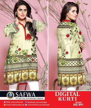 DG891 - SAFWA DIGITAL COTTON PRINT KURTI COLLECTION -SHIRT KURTI KAMEEZ