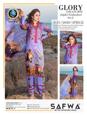 S-15-SAFWA GLORY COLLECTION Vol 2-3 PIECE SUIT SAFWA Three Piece Suit Dress Design, Pakistani Dresses, Online Shopping in Pakistan