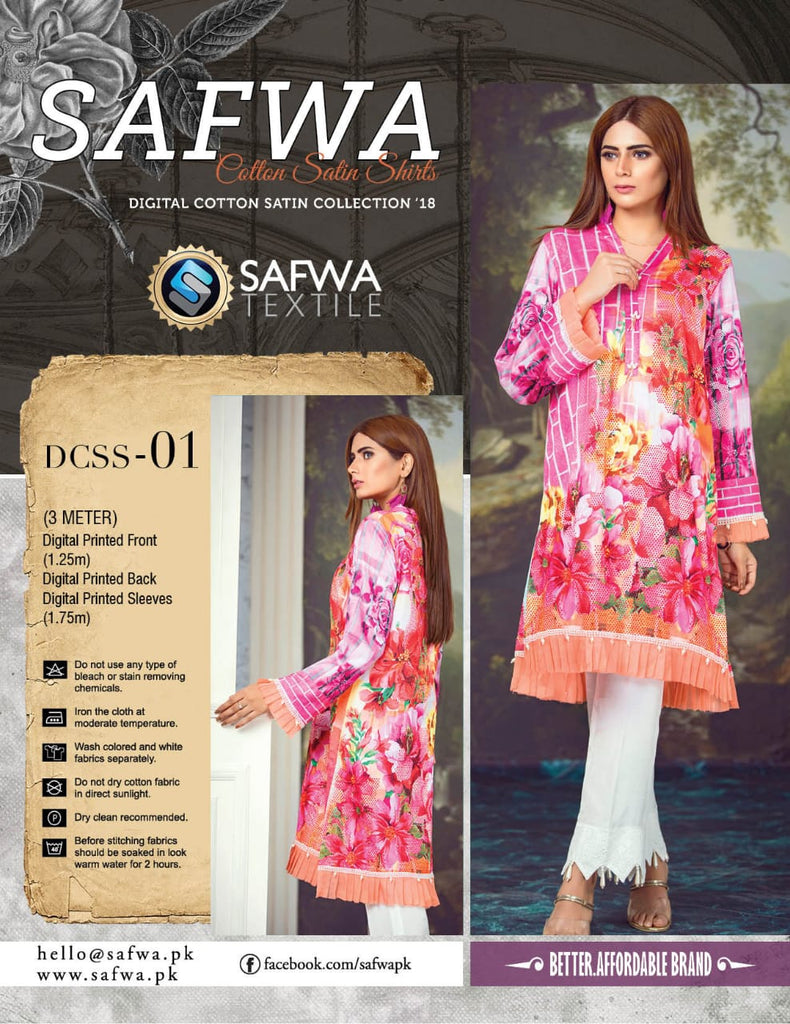CSK01- SAFWA DIGITAL COTTON Satin PRINT KURTI COLLECTION -SHIRT KURTI KAMEEZ