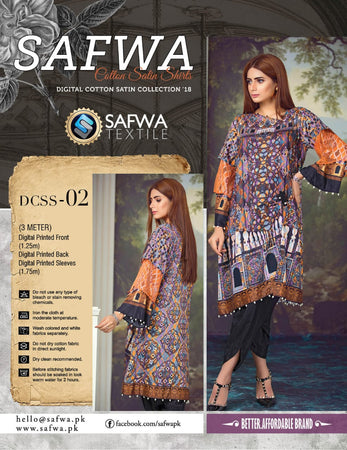 CSK02- SAFWA DIGITAL COTTON Satin PRINT KURTI COLLECTION -SHIRT KURTI KAMEEZ